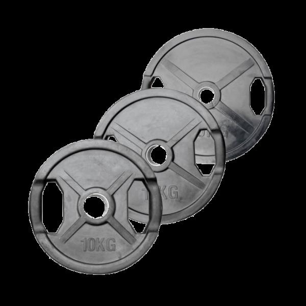 POWER-EXTREME Hantelscheibe 15 kg mit 2 Grifflöchern, gummiert, 50mm