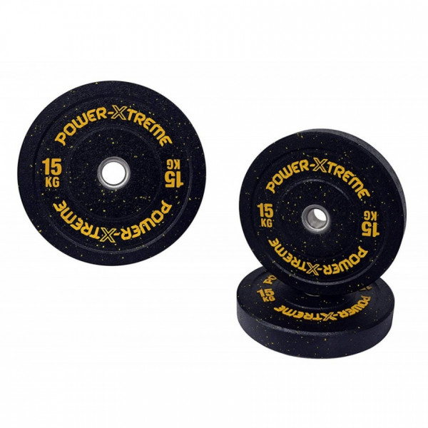 POWER-XTREME Hantelscheibe, Bumper Plate, Gummigranulat, 51mm 15 kg