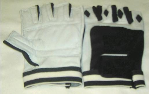 Handschuhe mit Lederrücken schwarz / weiß