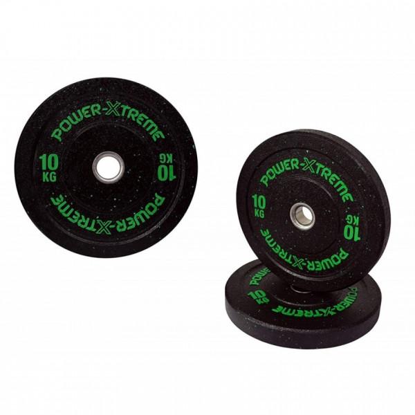 POWER-XTREME Hantelscheibe, Bumper Plate, Gummigranulat, 51mm 10 kg