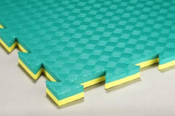 Mattenboden für Karate, Taekwondo, Kickboxen grün/gelb