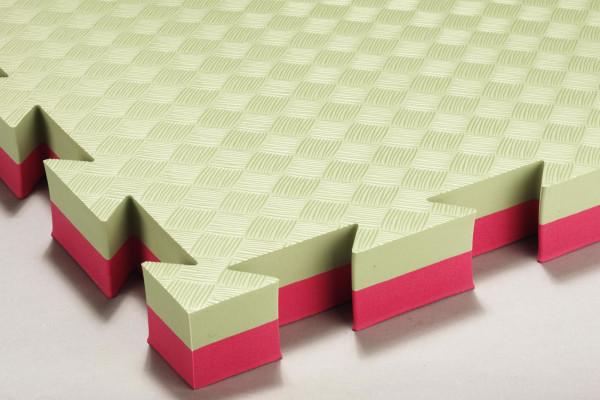 Mattenboden für Judo und Aikido grün/rot