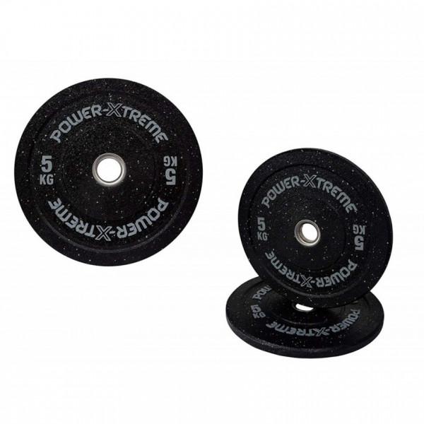 POWER-XTREME Hantelscheibe, Bumper Plate, Gummigranulat, 51mm 5 kg